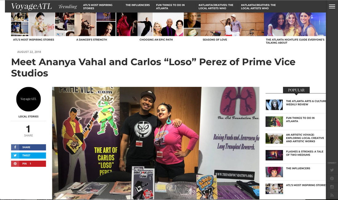 "Prime Vice Studios Sequential art company Intellectual property Carlos ""Loso"" Perez Understanding comics  Graphic novel storytelling Comic art Cartooning Black owned business  Comic book workshop Sequential art workshop Ananya Vahal, VoyageATL interview"